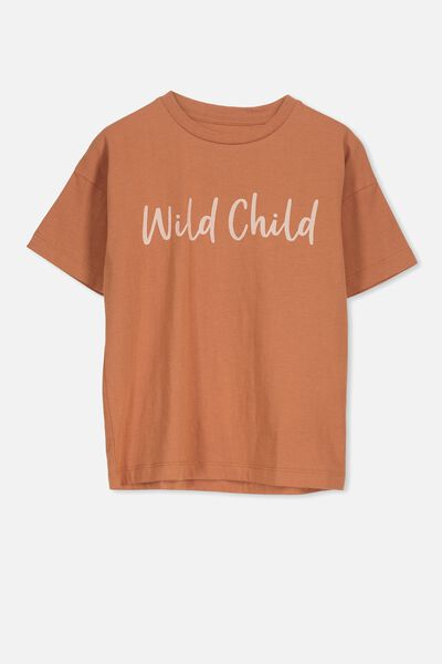 Penelope Ss Loose Fit Tee, SUNBURN/WILD CHILD