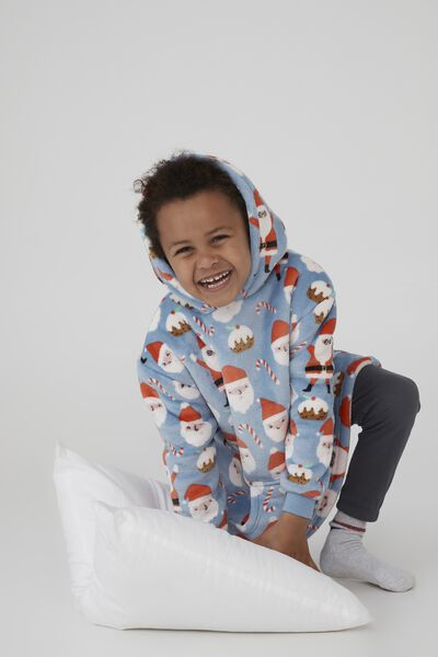 Snugget Kids Oversized Hoodie, SANTA FACES/DUSK BLUE