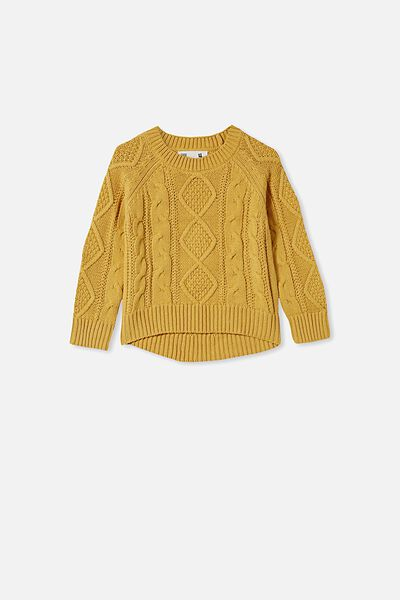 Annie Cable Knit Jumper, HONEY GOLD