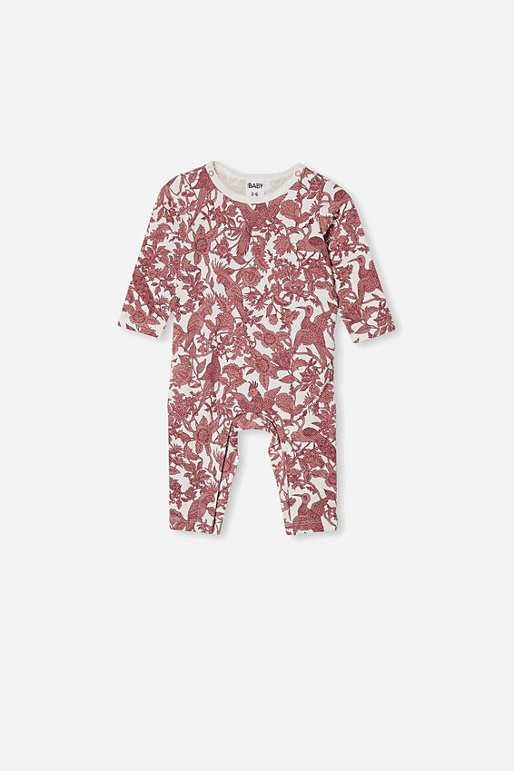 The Long Sleeve Snap Romper - Usa, VANILLA/PARADISE BIRDS