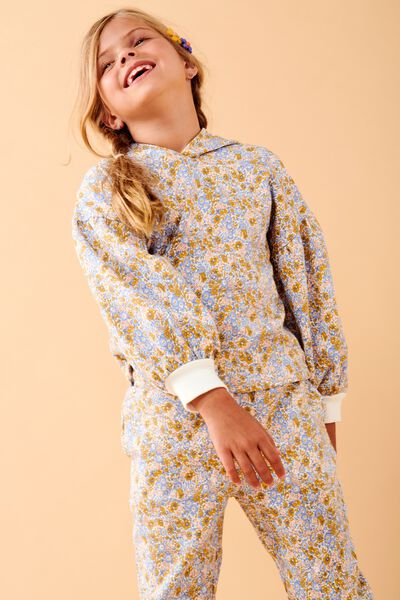 Tilly Puff Sleeve Hoodie, HONEY GOLD VINTAGE FLORAL