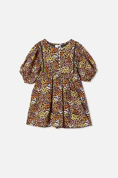 Gia Short Sleeve Dress, PHANTOM FLORAL FIELDS