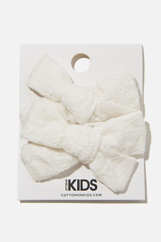 Big Bow Clips - Broderie, WHITE
