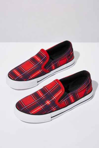 Classic Slip On, RED TARTAN