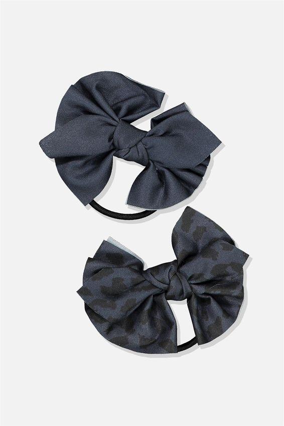 Bow Hair Tie, NAVY/ANIMAL