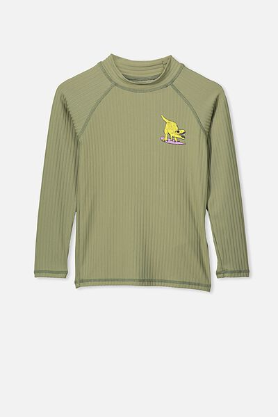 Flynn Long Sleeve Rash Vest, KHAKI RIB