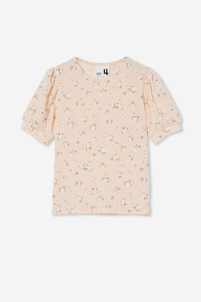 Jasmine Puff Sleeve Top, PEACH TANG/LORNE SCATTERED FLORAL