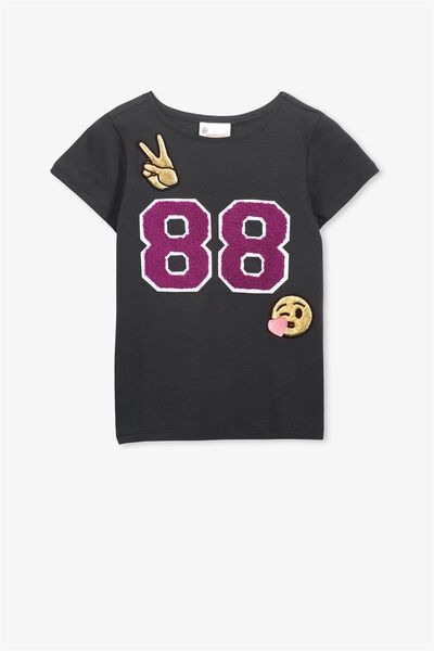 Lux Short Sleeve Tee, LCN EMJ PHANTOM/ EMOJI 88 BADGES