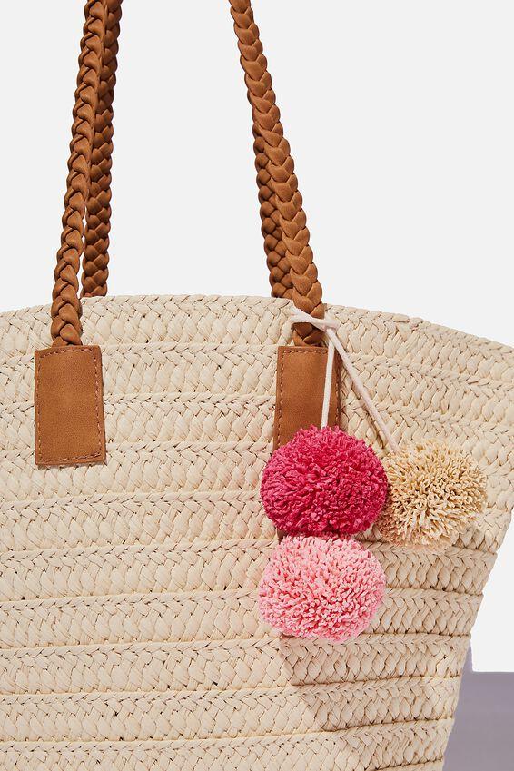 Beach Basket Bag, NATURAL POM POM