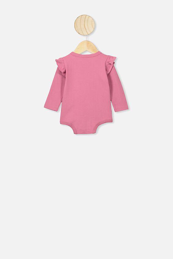 The Long Sleeve Ruffle Bubbysuit, MAUVE PLUM