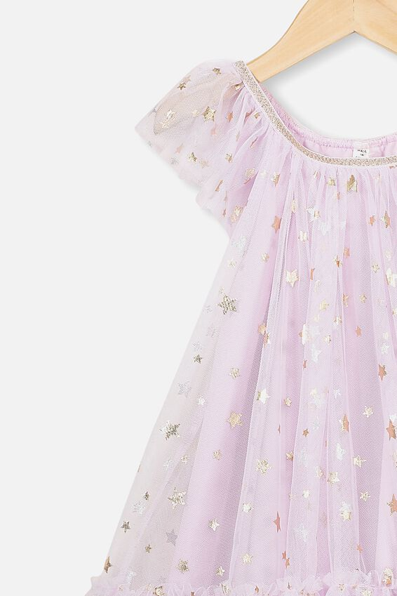Iris Tulle Dress, LAVENDER FOG/STARS