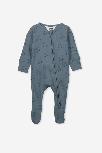 Newborn Zip Through Romper, DEEP POOL BLUE/FOREST