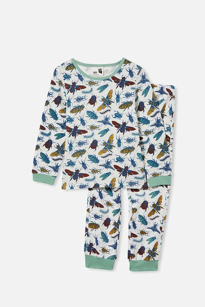 Noah Long Sleeve Pyjama Set, BUGS AND BEES/VANILLA