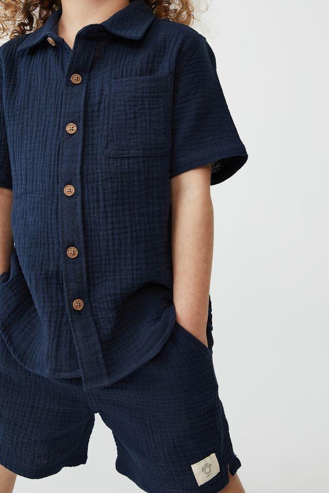 Resort Short Sleeve Shirt, NAVY BLAZER/CHEESECLOTH