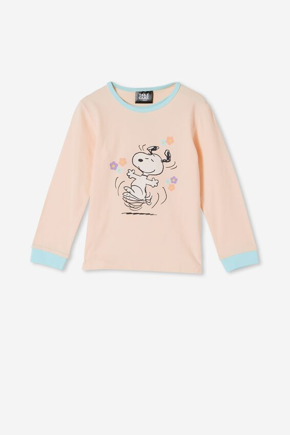 Florence Long Sleeve Pyjama Set Licensed, LCN SNOOPY TAKE CARE OF YOURSELF/DREAM BLUE