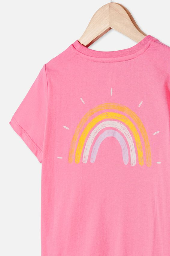Penelope Short Sleeve Tee, PINK PUNCH/RAINBOW FRONT AND BACK