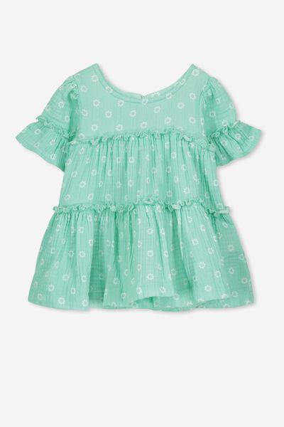 Abby Flutter Dress, DAISY FLORAL/AQUA LAKE