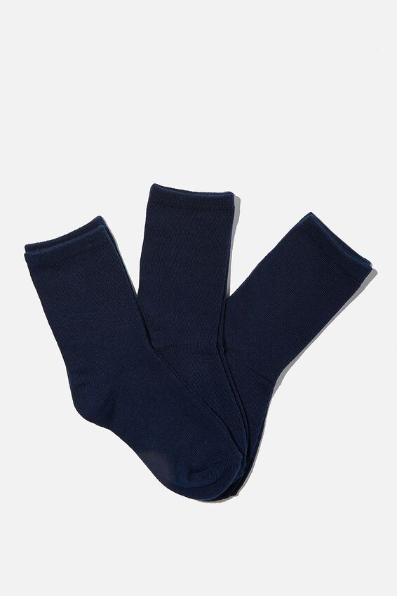Kids 3Pk Crew Socks, SOLID NAVY