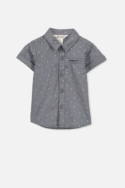 Zac Short Sleeve Shirt, PHANTOM/LITTLE CROSS