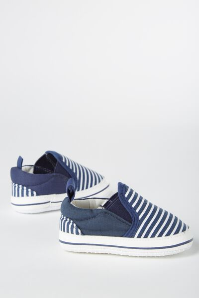 Mini Canvas Plimsole, NAVY STRIPE