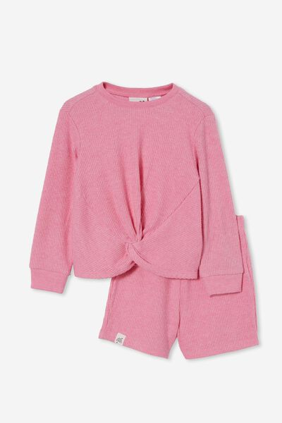 Abbie Knotted Front Long Sleeve Pyjama Set, PINK PUNCH MARLE
