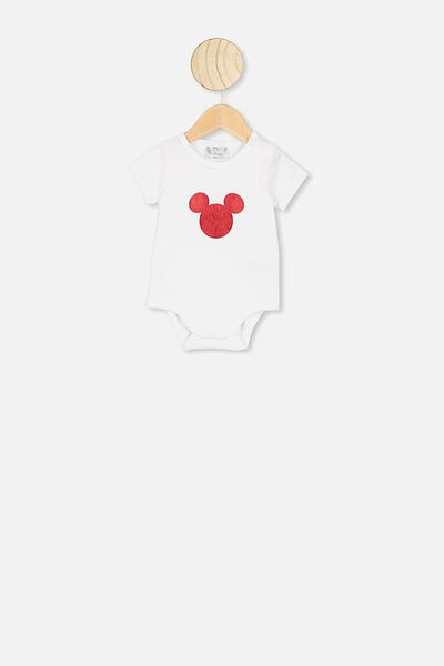 The Short Sleeve Ringer Bubbysuit, LCN DIS WHITE/MICKEY RED FOIL