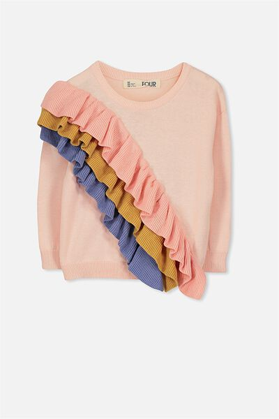 Nancy Knit Jumper, SHELL PEACH/RAINBOW FRILL