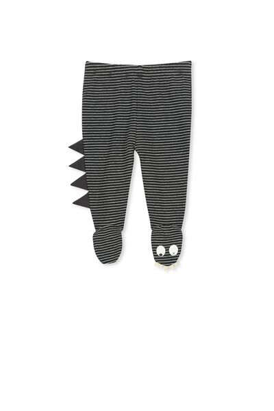 Mini Footed Legging, BLACK & WHITE STRIPE/MONSTER FOOT