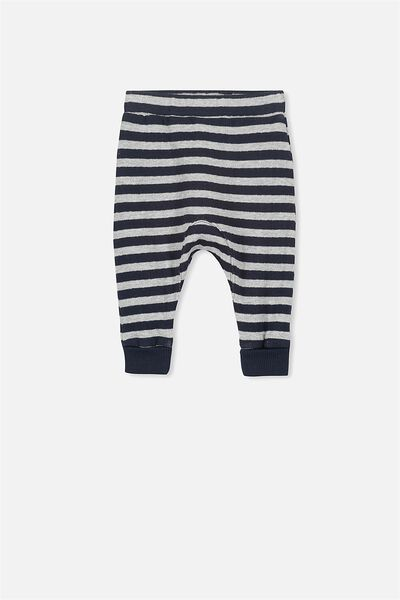 Shelby Slouch Trackpant, LIGHT GREY MARLE/PEACOAT STRIPE