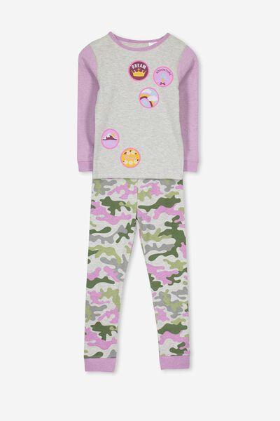 Alicia V1 Girls Long Sleeve Pyjama Set, MERIT BADGE