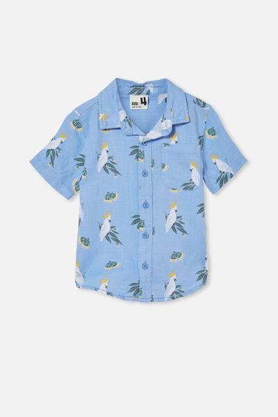 Resort Short Sleeve Shirt, DUSK BLUE/COCKATOO GUMNUTS