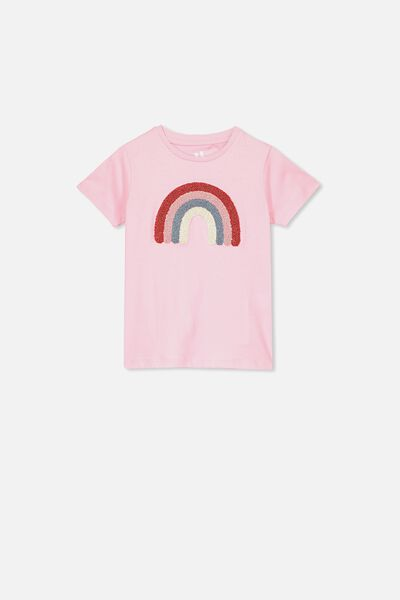 Stevie Ss Embellished Tee, MARSHMALLOW/GOLD TERRY RAINBOW/MAX