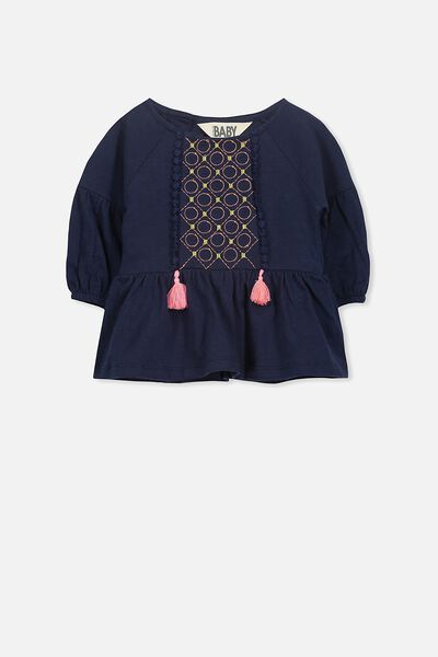 Olivia Long Sleeve Top, PEACOAT/EMBROIDERY