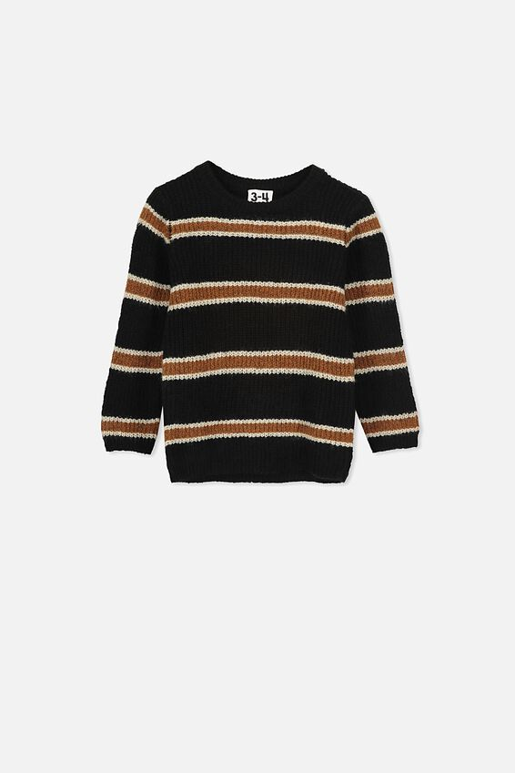 Blake Knit Jumper, BLACK TAN STRIPE
