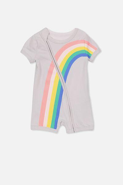 Mini Short Sleeve Zip Through All In One, WINDCHIME/RAINBOW