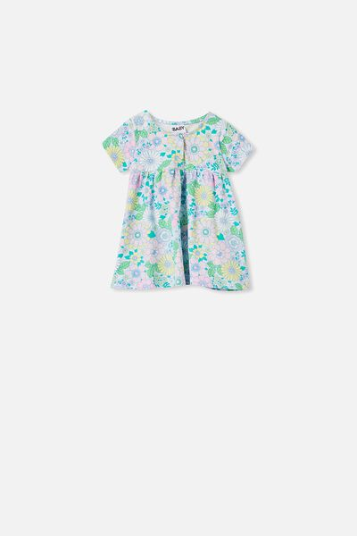 Milly Short Sleeve Dress, FROSTY BLUE/BLUE BIRD RETRO FLORAL