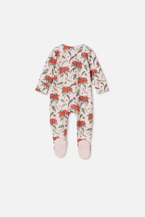 May Gibbs Long Sleeve Zip Romper, LCN MAY CRYSTAL PINK/BLOSSOM BABIES