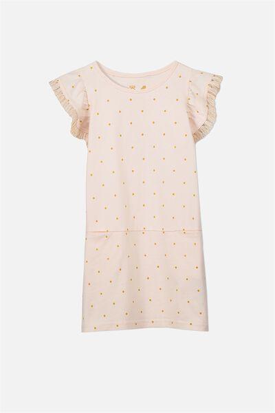 Ashley Short Sleeve Dress, LIGHT PINK/MARIGOLD SPOT