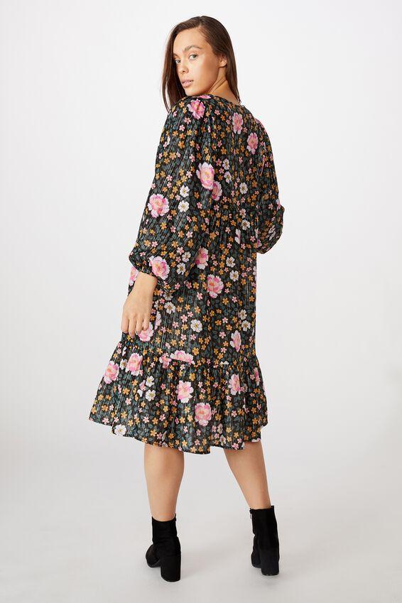 Kip&Co Mama Long Sleeve Dress, LCN KIP/DARK FOREST FLOOR