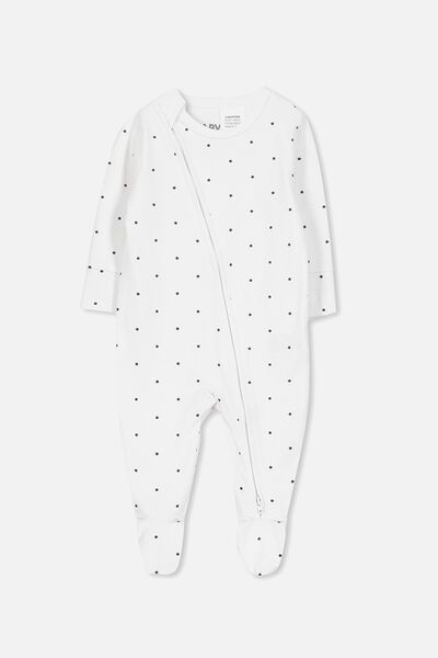 Mini Zip Through Romper, WHITE/INDIAN INK MINI SPOT