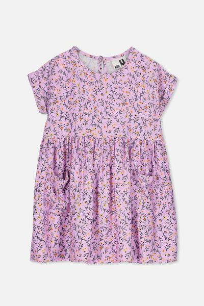 Malia Short Sleeve Dress, SWEET LILAC DITSY