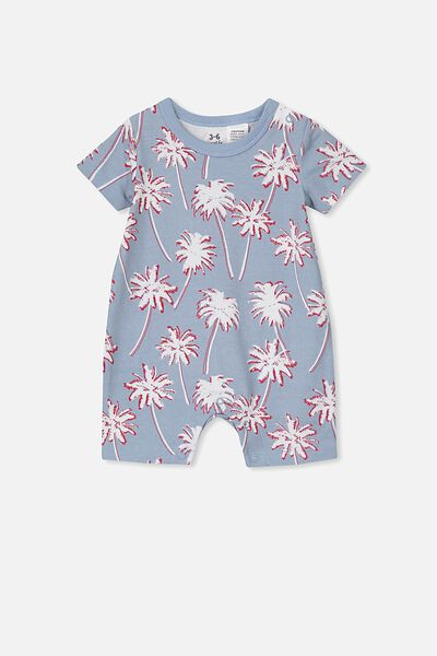 The Short Sleeve Romper, DUSTY BLUE/TROPCAL PALMS
