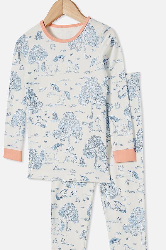 Lila Long Sleeve Pajama Set, UNICORN TOILE VANILLA