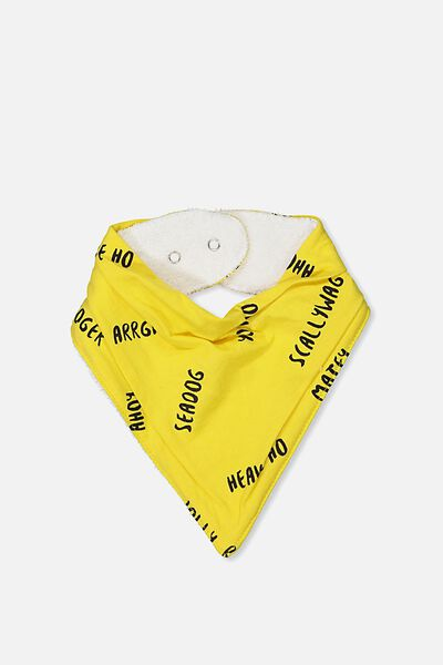 Dribble Bib, DUNGAREE YELLOW/PIRATE TALK