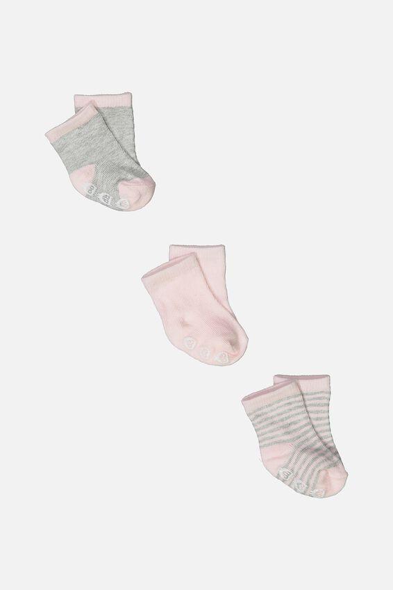 3Pk Baby Socks, PINK
