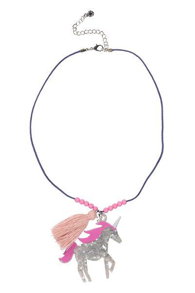 Animal Charm Necklace, UNICORN WALTER BLUE