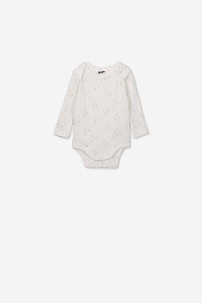 Newborn Long Sleeve Bubbysuit, MILK/MID GREY FOREST