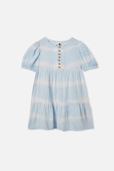 Meredith Short Sleeve Dress, BLUE TIE DYE