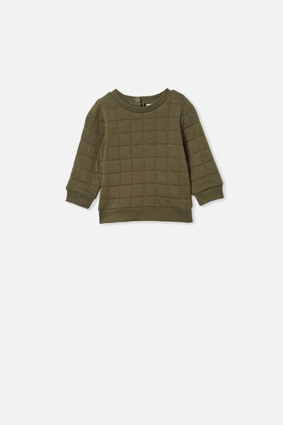 Scout Quilted Sweater, BEETLE GREEN