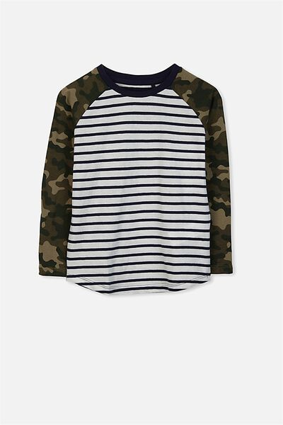 Tom Long Sleeve Tee, CAMO SCUBA STRIPE/RAGLAN